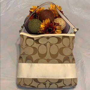 Coach white stripe Canvas bag.